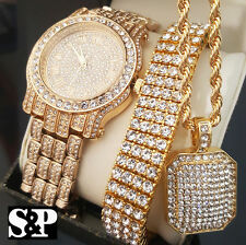 Men Hip Hop Iced Out Gold PT Simulated Diamond WATCH & BRACELET & NECKLACE Set