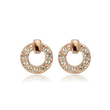 GORGEOUS 18K ROSE GOLD PLATED GENUINE CLEAR  SWAROVSKI CRYSTAL  STUD EARRINGS