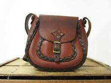 VINTAGE 1970s Handmade Brown Laced Tooled Leather Signed Saddle Bag Hippie Purse