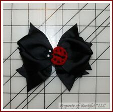 BonEful RTS NEW Girl Boutique Hair*Bow B&W Black Red Lady*Bug Dot China Adoption