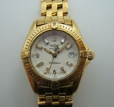 BREITLING CALLISTINO POUR DAME EN OR 18K CADRAN INDEX DIAMANTS BAGUETTES