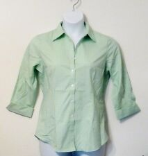 NEW Kirkland Signature Women's 3/4 Sleeve Stretch Pinpoint Oxford Blouse Shirt M