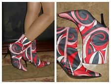 Vtg 7 psychedelic go go boots ankle boots swirls mod retro zip up stiletto boots