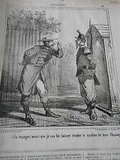 Litho Caricature 1867 Etranger lui laisser étudier système de mon Chassepot