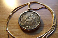 "Rare 1920's  FRANCE ART DECO Antique Handsome Coin Pendant 24"" Gold Filled Chain"