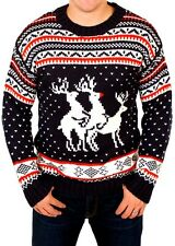 New Unisex Threesome Reindeer Men's Ugly Funny Rude Knitted Xmas Jumper Sweater