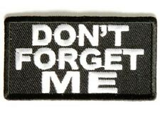 LOT OF 2 - DON'T FORGET ME EMBROIDERED IRON ON BIKER PATCH