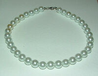 CHUNKY WHITE GLASS PEARL NECKLACE SILVER PLATED CLASP strand 16 INCH FRL
