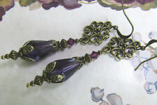 VINTAGE VICTORIAN STYLE DANGLE PURPLE DROP EARRINGS
