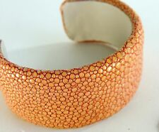 STINGRAY Leather Cuff Wide Brown Bracelet Jewelry Gifts Signed Genuine
