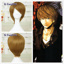 Free shipping Cosplay Death Note Yagami Light short Brown wig +a wig cap