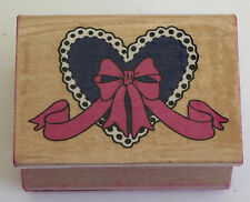 HEART Ribbon Rubber Stamp Wood Mounted DIY Crafts Bow Love Wedding Lace Edge