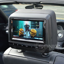 2 x Black Leather-Style HD DVD/USB/SD Headrests Screens BMW 1/3/5/6/7-Series