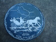 Grey Tin with Horse and Open Air Buggy in Silhouette on Front with Scroll Work