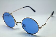 BLUE ROUND SUN GLASSES GOLD FRAMES TRIGUN VAMPIRE COSPLAY STEAM PUNK HIPPIE