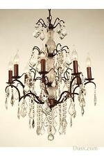 DUSX Charlotte Glass Crystal French Bronze 8 Arm Chandelier