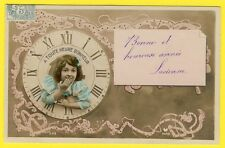 cpa fantaisie - art nouveau fillette horloge nouvel an New Year girl in clock