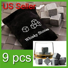 9Pcs Whisky stones with velvet bag Cold Glacier whiskey Ice Cube rock stone gift