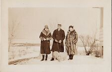 Vintage Antique Photograph People With Puppy Dog Standing In the Snow