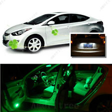 For Hyundai Elantra 2011-2012 Green LED Interior Kit + White License Light LED