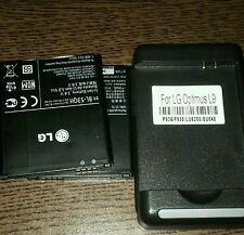 2 LG Optimus battery and 1 battery charger .