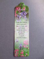 BOOKMARK JOAN Name Meaning Personalised Gift Present Birthday Thankyou Easter