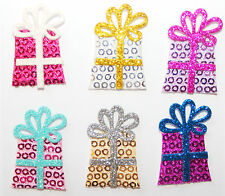 6 Glitter Self Adhesive Stick On Gifts / Presents Embellishments Card Craft
