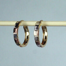 14K solid tri-color gold diamond cut Hoop earrings 1.5 gram