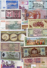 Set of 25 Different Banknotes 25 Different Countries Costa Rica Thailand Peru #J
