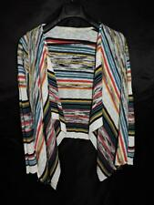Mystree M Blue Red White Yellow Stripe Cardigan Sweater Open Draped Jacket md