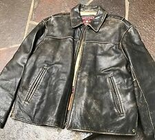 ANDREW MARC Brown / Black Distressed Leather Bomber Jacket Mens Large