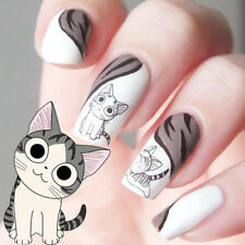 New White Black Happy Cute Cat Pattern Nail Art Sticker Water Transfer Decals