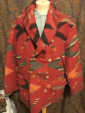 VTG Polo Ralph Lauren Country Aztec Indian Wool Blanket Navajo Jacket Coat 92 L