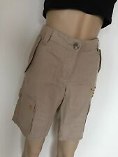 New BCBG Max Azria Shorts, Size 8, Linen, Brown color Sahara, flat with beads