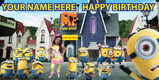 """Birthday banner Personalized """"FREE MINIONS1"""" with your Photo and Name 6x3 feet"""