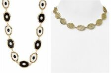 $128 House of Harlow Del Sol Reversible 1960 Leather Necklace Black White Marble
