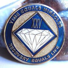 Alcoholics Anonymous AA NA Tri Plate Blue Gold 25 Year Recovery Medallion Coin