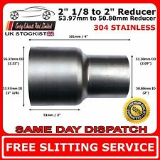 "2.125"" to 2"" Stainless Steel Standard Exhaust Reducer Connector Pipe Tube"