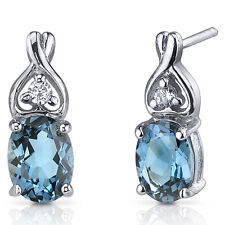 3 CT Oval Blue London Blue Topaz Sterling Silver Earrings