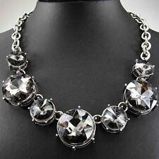 Hot Woman pendant Crystal Black Glass Bib  Statement charm chunky Chain Necklace