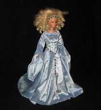 Handmade Blue with Glitter Knit Panne Barbie Medieval Dress - Belt and Crown