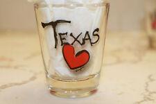 TEXAS HEART LOVE CLEAR SHOT GLASS SOUVENIR