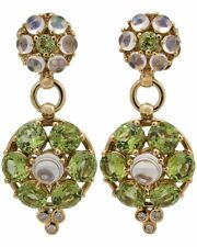 TEMPLE ST. CLAIR - 18K Yellow Gold Diamond, Moonstone, & Peridot Drop Earrings