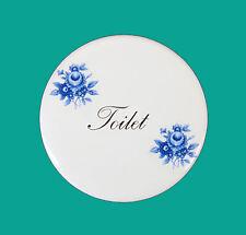 """White Porcelain Ceramic Circular Door Plaque Saxony Floral Design 82mm (3 1/4"""")"""
