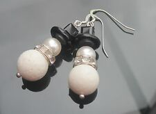Xmas SNOWMAN Coral Onyx Pearl MADE WITH SWAROVSKI ELEMENTS 925 Orecchini d'Argento