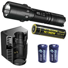 Nitecore R25 XP-L HI V3 Flashlight w/Charging Dock,18650, & 2x CR123A Batteries