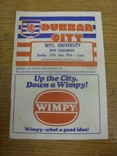 27/06/1976 Durban City v Wits University  (creased, marked). Item appears to be