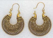 Indian Ethnic Bollywood Antique Round Gold Hoop Fashion Jewellery Earrings