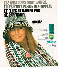 PUBLICITE ADVERTISING 015  1975  YARDLEY  eau de toilette en spray SEA SPRAY