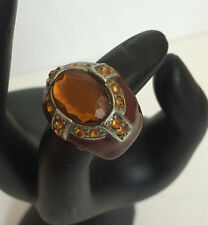 Chocolate Brown Rhinestone Faux Crystal Stretch Cocktail Ring Sparkle SilverTone